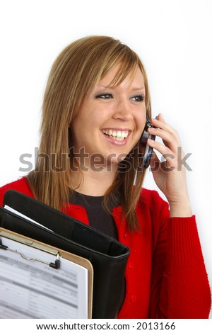 Young professional talking on a cell phone.
