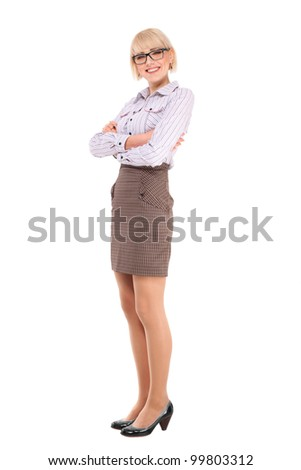 Young professional woman. White Caucasian businesswoman isolated on white background in full body.