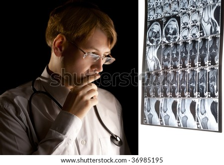 Young puzzled doctor thinking about the diagnosis