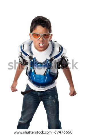 Young raging angry boy in motorcross gear