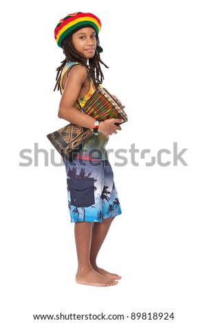 young rasta guy isolated on white