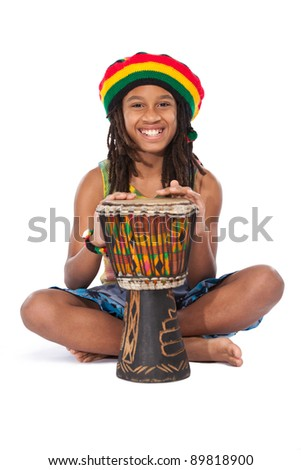 young rasta man isolated on white