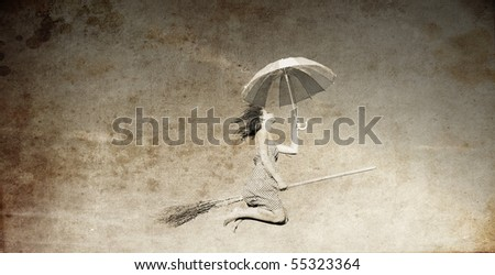 Young red-haired witch on broom flying in the sky with umbrella. Photo in old image style.