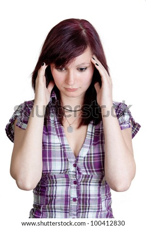 young redhead woman with splitting headache - isolated on white background