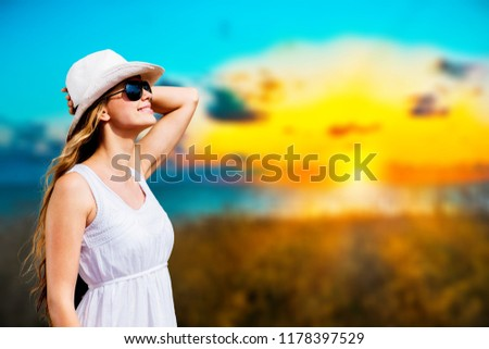 Young relaxed woman on tropical beach #1178397529