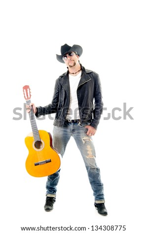 young rocker man performing on a guitar against a white background