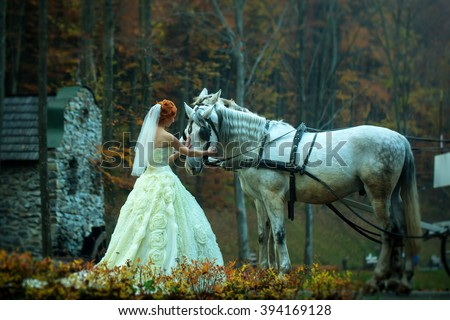 Young romantic beautiful bride in white wedding dress as cinderella standing near horses with carriage in deep forest outdoor on natural background, horizontal picture