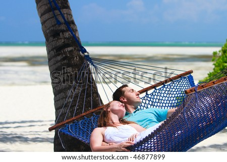 Tropical Island Beaches Hammock on Tropical Beach
