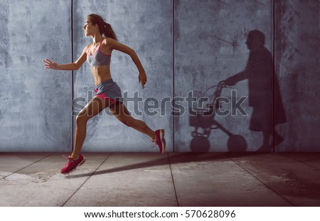 Young runner with an old shadow