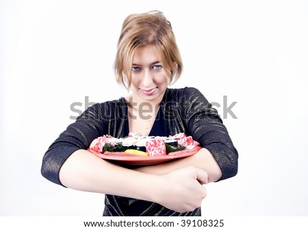 Young russian woman with sushi set