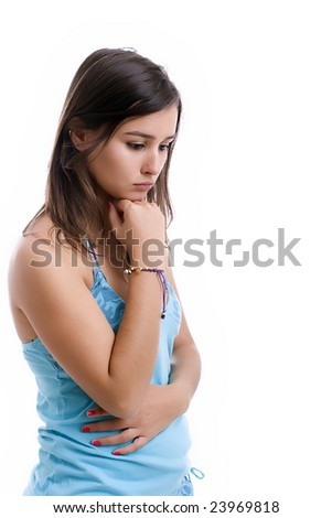 young sad girl portrait, isolated over white - stock photo