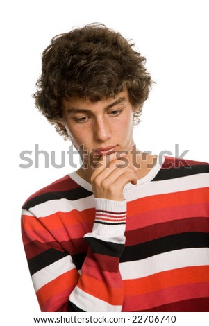 young sad teenager man isolated on white