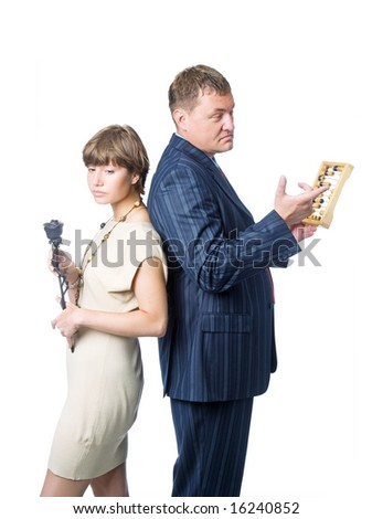 Young sad woman with metallic rose and serious man with abacus. Isolated on white background