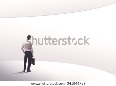 Young sales business person in elegant suit standing with his back in empty white space background with curved lines concept #341846759