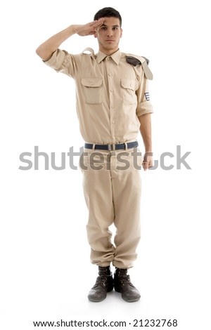 young saluting american guard on an isolated white background