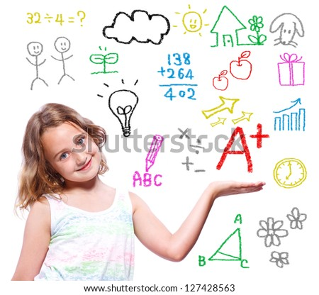 Young school girl with hand written school themed texts and pictures