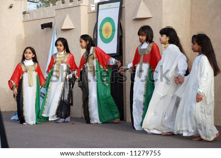 Young school girls at dubai annual festival