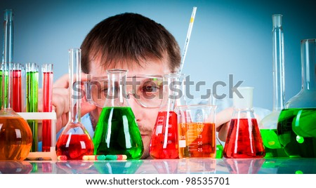 young scientist in the lab - stock photo