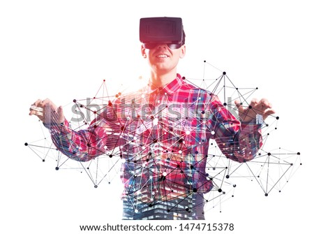 Young scientist wearing VR goggles working in cyberspace. Guy in checkered shirt modeling and simulation complex systems. Future technologies and new interactive world. Mixed media with 3d objects.