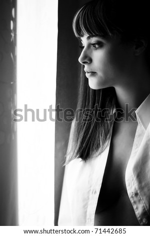 Young sensual woman portrait in black and white