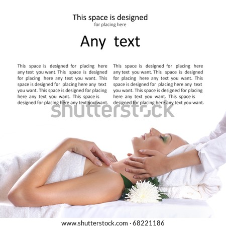 Young sexy blond getting spa treatment isolated on white