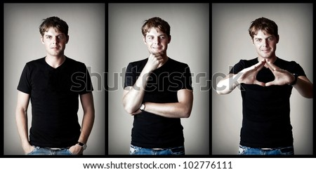 Young sexy man model in black t-shirt on gray background