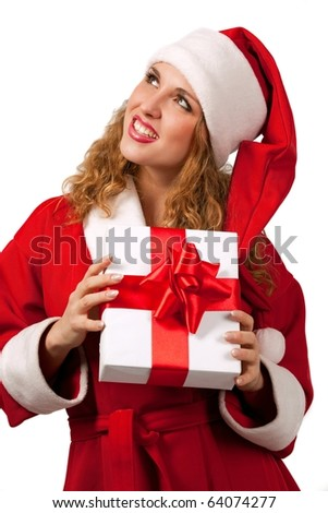 Young sexy Santa holding a gift box isolated on white