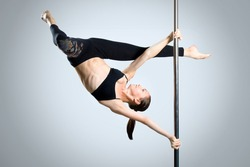 stock photo young sexy woman exercise pole dance against a gray background 112364474 Best Sex Camshaft Sites   How To Find The best Ones