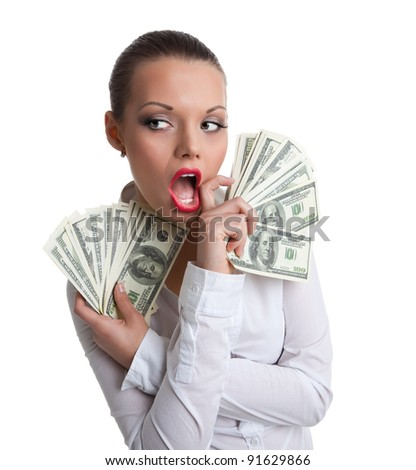 young sexy woman with bundle of money wipe a mouth
