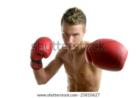 Young  shaped man boxing, isolated studio shot