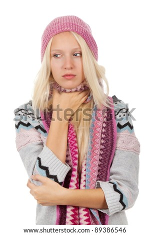 young sick girl got flu or cold, hold hand ill throat neck, wear wear winter knitted pink hat scarf and sweater, isolated over white background