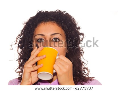 Young Sick Woman Drink Hot Beverage