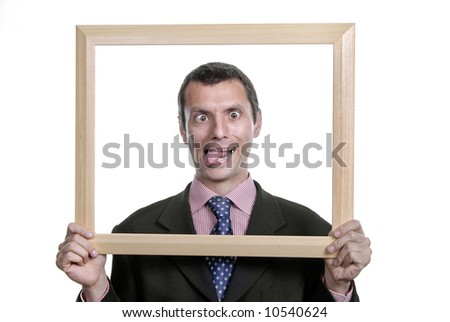 young silly business man portrait inside a frame