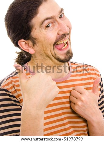 Young Silly man thumbs up, isolated over white background