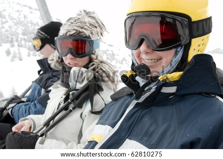 Young skiers in a skilift