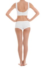 Young slim woman on white background, closeup. Weight loss