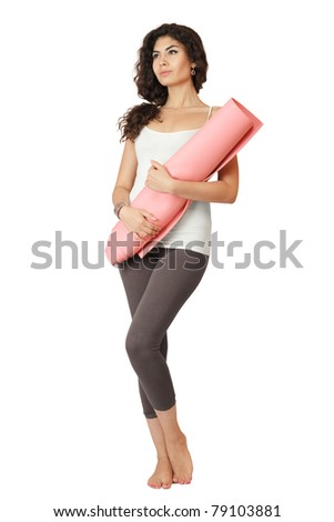 Young slim woman with gymnastics mat isolated over white background