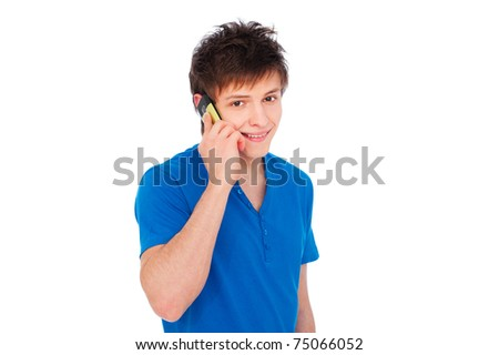 young smiley man speaking on his mobile. isolated on white