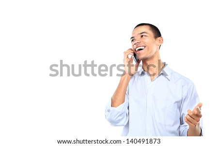 young smiling black businessman talking on cell phone isolated on white