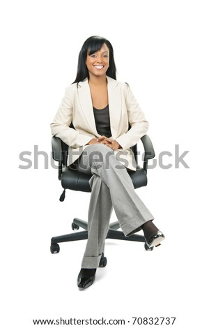 Naked Secretary Taking Notes Sitting On Leather Chair Royalty Free