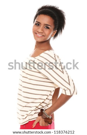 Young smiling black woman in studio isolated on a white