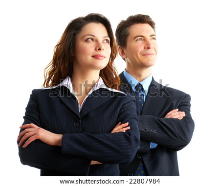 Young smiling  business people. Isolated over white background