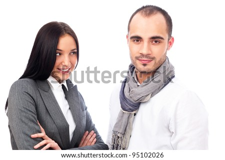 Young smiling business woman and business man isolated