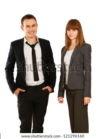 Young smiling business woman and business man isolated on white background