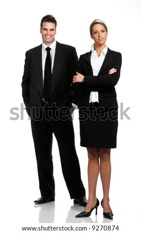 Young smiling  business woman and businessman . Over white background