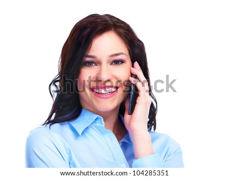 Young smiling business woman calling by phone. Isolated on white background.