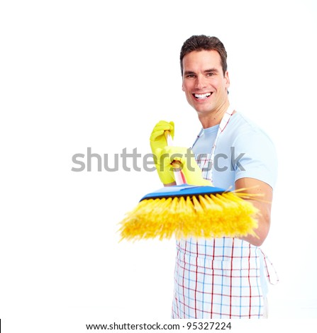 Young smiling cleaner man. Housework. Isolated over white background.