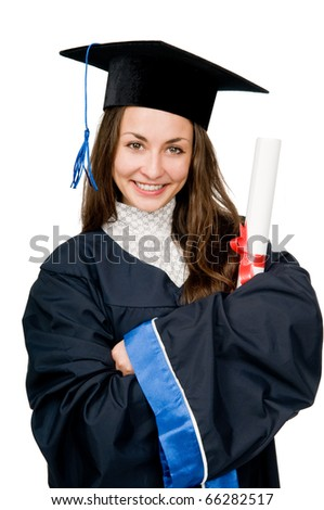 Young smiling graduate girl student in gown looking frankly isolated