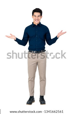 Young smiling handsome Asian man with open palms gesture studio shot isolated on white background