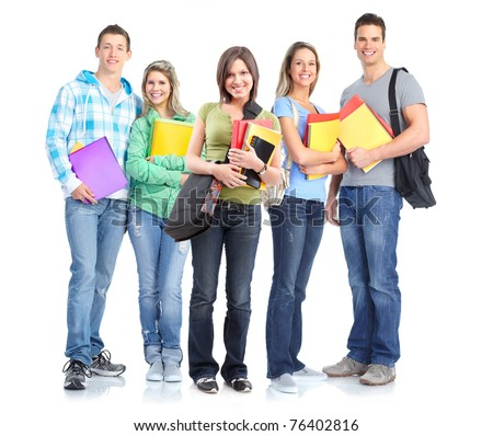 Young smiling happy students . Over white background